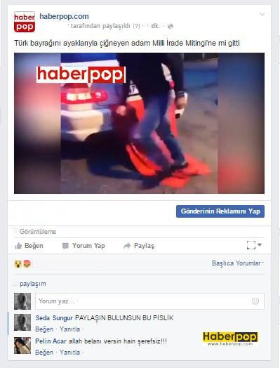 Türk-bayrağını-ayaklarıyla-çiğneyen-adam-demokrasi-mitingine-gitti-videosu-izle-haberpop-haber